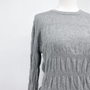 Current Air gray pointelle stretch pleated top